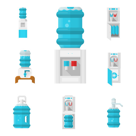 cooler: Flat color isolated icons for water cooler appliance on white background. Water jug with faucet, portable water cooler, full bottles and other elements for business and web design.