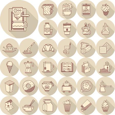 almuerzo: Conjunto de 33 planas redondas iconos de línea marrón con largas sombras de los alimentos. Café, tostadas, leche, jugo, frutas, panadería y otros productos para el desayuno, el almuerzo o la cena menú