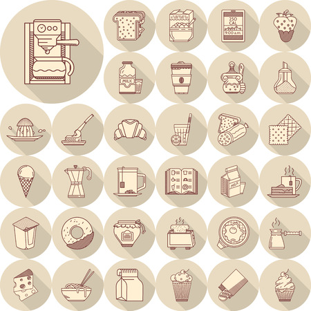 lunch: Set of 33 flat round brown line icons with long shadows for food. Coffee, toasts, dairy, juice, fruits, bakery and other products for breakfast, lunch or dinner menu