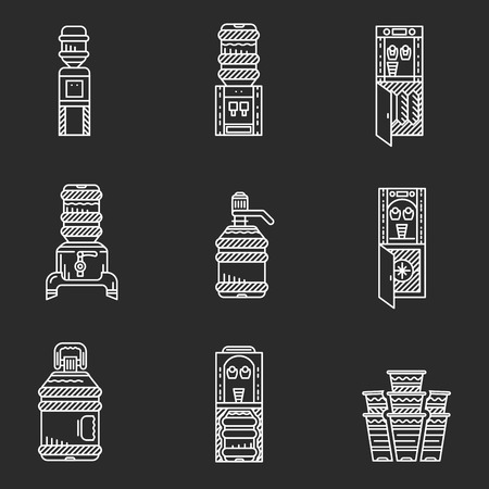 vertical fridge: White flat line icons set for water coolers on black background. Purifiers, coolers, refrigerator elements, water delivery, disposable cups and other elements for business and web design. Illustration