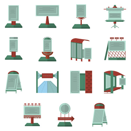 display advertising: Set of flat color icons for outdoors advertisement elements. Advertisement boards, billboard, marketing frames and other objects for business or website