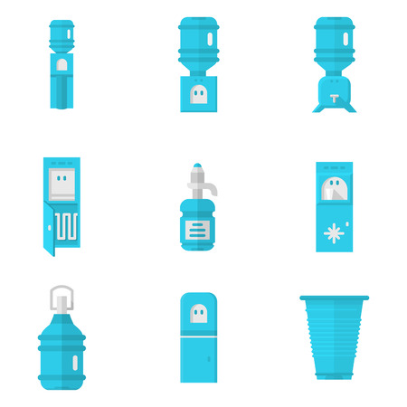water cooler: Blue flat icons for water cooler isolated on white background. Disposable cup, purifier, water cooler machine with freezer, water delivery bottles and other elements for business and web design.