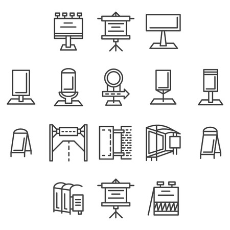 Set of flat line icons for outdoor advertising elements. Signboards, billboard, light box, road sign, banners and other objects for business or website