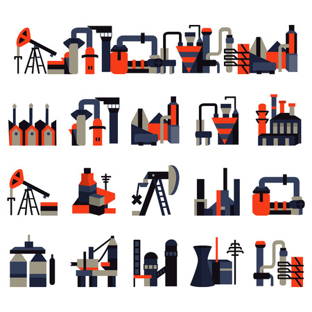 Set of flat colored icons for industrial plants and factories. Oil extraction, production, manufacture, towers, industrial and other samples for business or website Ilustração
