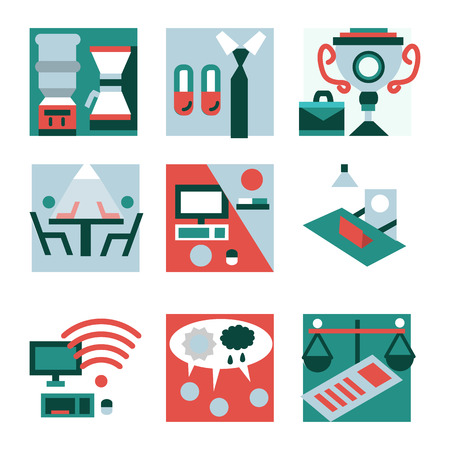 Set of flat color style icons for teamwork and co-working concept. Working environment, business meeting, freelance, organization and other item for your business or website