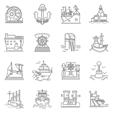 seaports: Black line icons collection for ships and ports. Seaports, crane, vessels, shipment and other elements for your business or website
