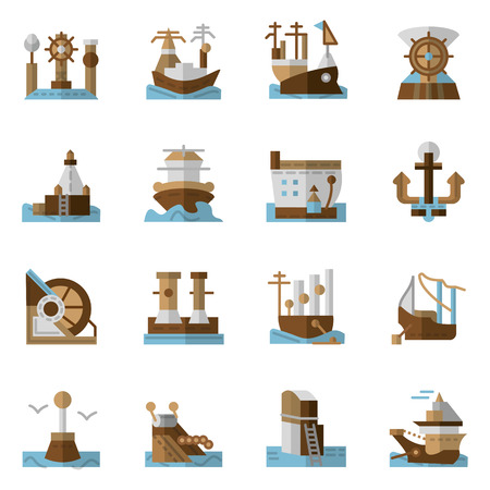seaports: Flat color design icons collection for seaports and ships. Cargo ship, porthole, cranes, lighthouse and other objects for business and web design