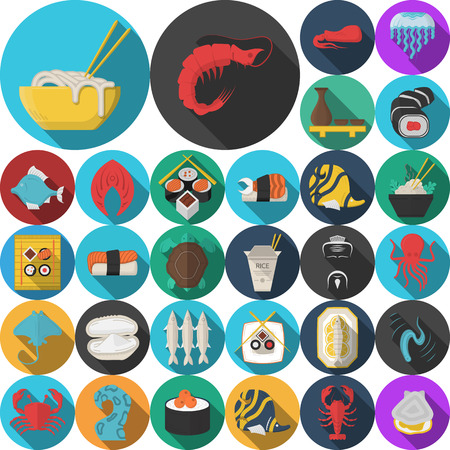 asian business: Set of 30 flat color design vector icons for seafood and asian food. Sushi set, serving, prepared fish, shellfish, exotic food and other for business and website Illustration