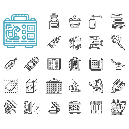 Set of 25 black line vector icons for tattoo accessories and equipment. Needles kit, tattoo machines, power supply, gloves, ink and other items for business and web design.