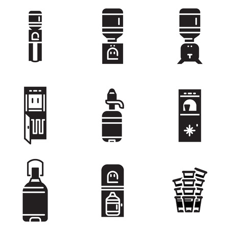 Set of black monochrome vector icons for water cooler items isolated on white background. Electric water cooler, purifier, water delivery, plastic bottles for business and web design. Illustration