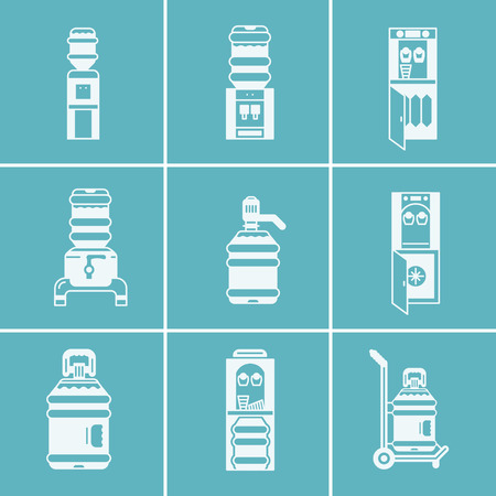 water cooler: Set of white silhouette vector icons for water cooler items. Water cooler machines and systems for office and home, potable water delivery.