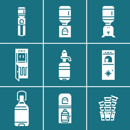 Water coolers simple white icons set separated of white lines on blue background. Water cooler equipment, supplies, cooler accessories symbols as stencil for business and web design. 向量圖像