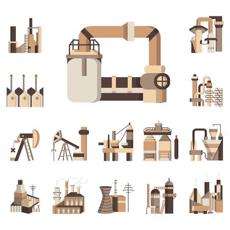 業界のオブジェクトの茶色単色ベクトルのアイコンを設定します。工業用建物工場、クレーン、タワーおよびビジネスの他の要素  イラスト・ベクター素材