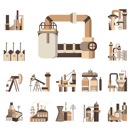 Brown flat color vector icons set for industry objects. Industrial building factory, cranes, towers and other elements for business Ilustração