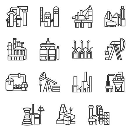 Industriële installaties en fabrieken vlakke lijn ontwerp vector pictogrammen die met de oliewinning, brandstof, elektriciteit en energie-industrie symbolen voor bedrijf of website.