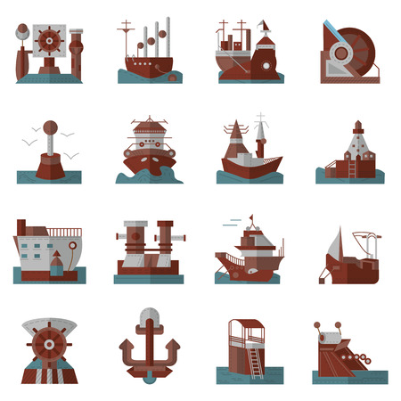 sea port: Brown and blue flat style vector icons set for marine vessel elements. Ships, sea port, ship unloading, lighthouse and other objects for business and web design.