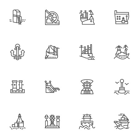 ships at sea: Simple line vector icons set for marine vessel and ports. Ships, sea port, ship unloading, lighthouse and other objects for business and web design.