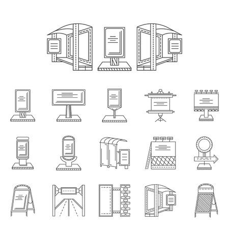屋外広告の要素のベクター アイコンを黒い線のセットです。看板、バス駅広告、道路の広告板、他ビジネスや web デザインのサンプル。