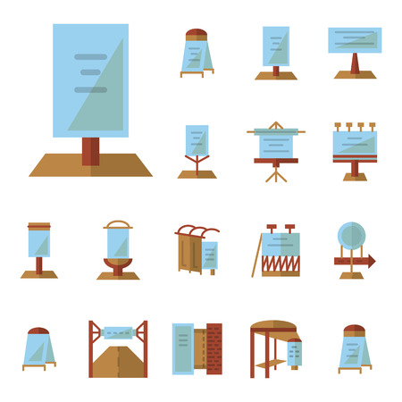 advert: Set of flat color style vector icons for outdoors advertising structures. Billboards, bus station advert, road ad boards and other samples for business and web design.