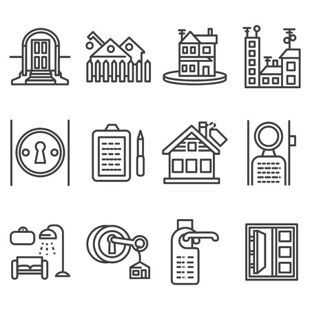 the property: Set of flat black line design vector icons for rental of residential property. Interior and exterior, lock with key, rent agreement, house and other samples for business and web design. Illustration