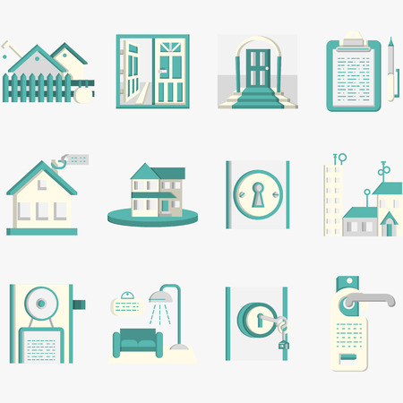 for rental: Set of blue flat design vector icons for rental of residential property. Interior and exterior, lock with key, rent agreement, house and other samples for business and web design. Illustration