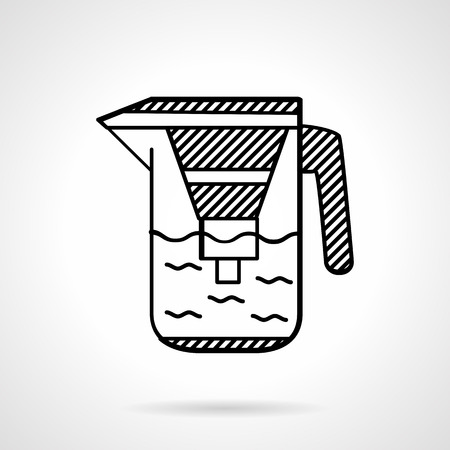 water filter: Black flat line icons for water jug with filter and with liquid. Portable water purification for home. Illustration