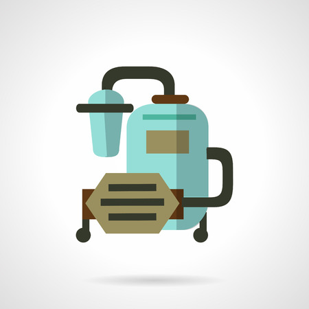 purification: Flat color vector icon for water purification system with filter, tank, pump for industry or home. Design element for business and website Illustration