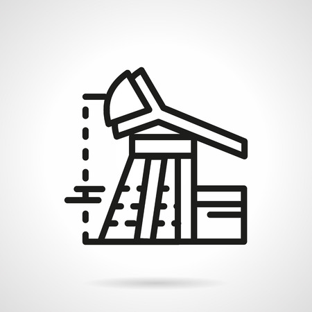 extraction: Black flat line vector icon for oil extraction derrick. Design element for business and website