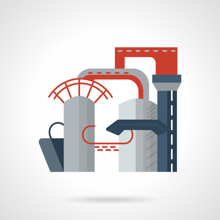 distill: Flat color design vector icon for structures of gas industry. Plant, gas processing, pipeline. Design element for business and website
