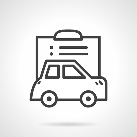 compensate: Abstract simple line vector icon for car and document file. Vehicle paper, automobile sale, car insurance. Design element for business and website Illustration