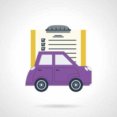 紫色の車販売、保険、賃貸料のためのサンプル文書と他の機会の単色デザイン ベクトル アイコン。ビジネスおよびウェブサイトのためのデザイン要