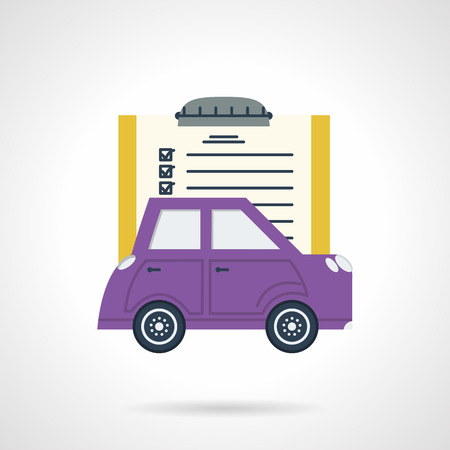 Flat color design vector icon for purple car with sample document for selling, insurance, rent and other occasions. Design element for business and website