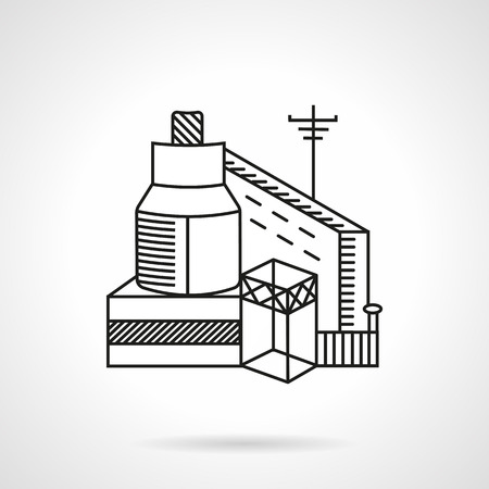grain storage: Flat black line vector icon of plant for grain. Modern technology mill, silos, grain storage, grain elevator. Design element for business and website