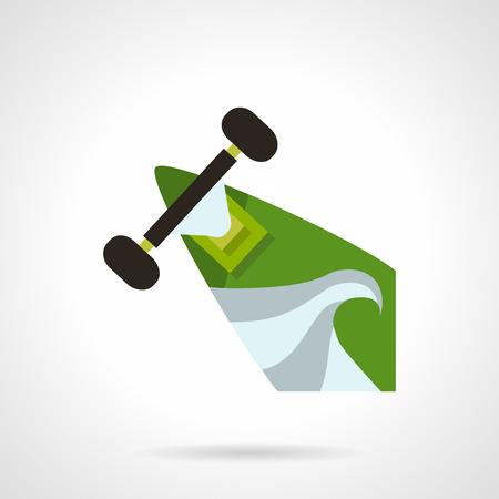 skateboard park: Piso icono del dise�o del vector de color para longboard o monopat�n. Parte cubierta con ruedas y de impresi�n en color verde y gris moderno abstracto. Elemento de dise�o para los negocios y el sitio web