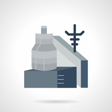 abandoned warehouse: Flat color design gray vector icon for metalworking factory. Main tower, steel shop, power supply. Design element for business and website