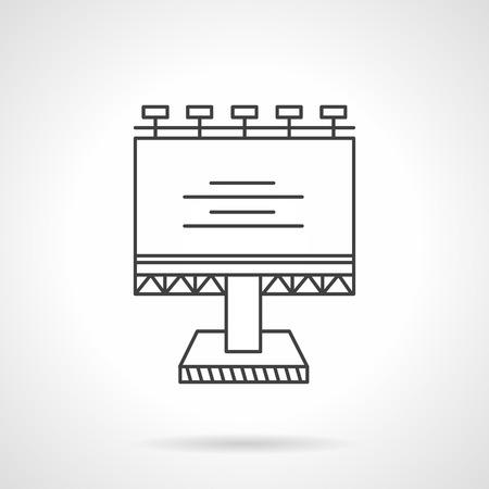 黒い平らな線ランプと空白の大きな看板のデザインのベクトルのアイコン。屋外広告の構造。ビジネスおよびウェブサイトのためのデザイン要素