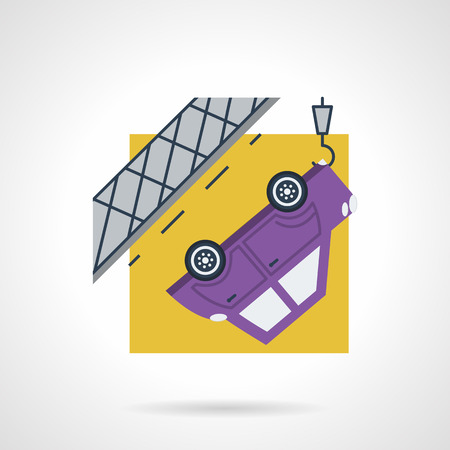 evacuate: Simple flat color design vector icon for car evacuation. Purple automobile on crane tow on yellow background. Design element for business and website Illustration