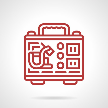 tattooing: Simple flat red line design vector icon for kit of tools and accessories for tattoo master. Tattoo machine, inks, foot switch in portable case. Design element for business and website Illustration