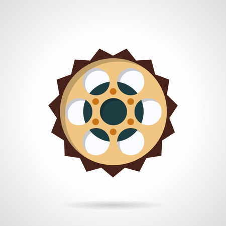 bike chain: Colored flat style vector icon for bike chain sprocket. Spare parts for bike and electric bike. Design element for business and website