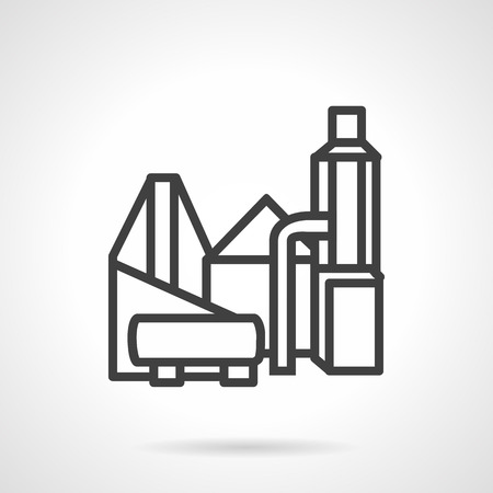 cement chimney: Black simple line vector icon for plant and factory structures. Manufacturing, industrial, processing elements. Design element for business and website