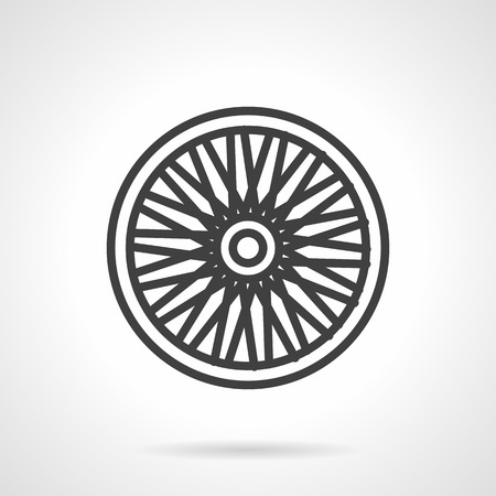 Simple flat line vector icon for bike single wheel. Spare parts for bike repair services and shops. Design element for business and website Illustration
