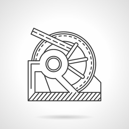 mooring: Flat line vector icon for winch mechanism. Anchor winches, manual winch, hawser, mooring equipment. Design element for business and website Illustration