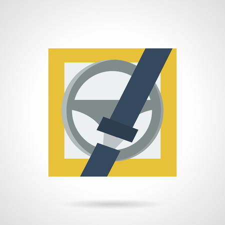 seatbelt: Flat color design vector icon for driver safety. Seatbelt with lock and steering wheel on yellow background. Design element for business and website