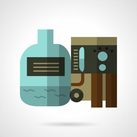 bomba de agua: color del icono del vector del diseño plana para el sistema de filtrado de agua con tanque. elemento de diseño para el negocio y el sitio web Vectores