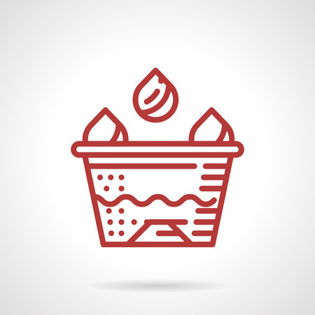 parlor: Red simple line design vector icon for ink caps. Items and accessories for tattoo parlor. Design element for business and website Illustration