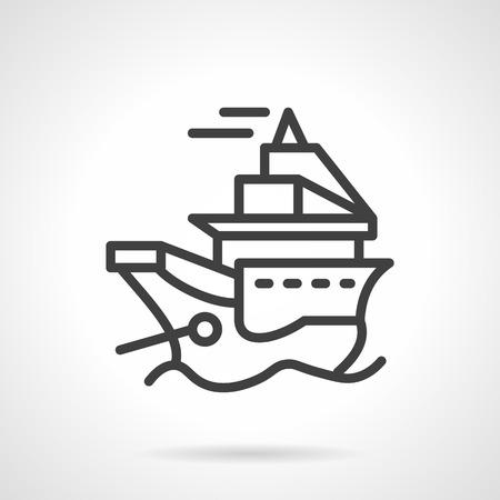 cargo vessel: Black simple line vector icon for marine vessel. Cargo vessel, passenger ship. Design element for business and website