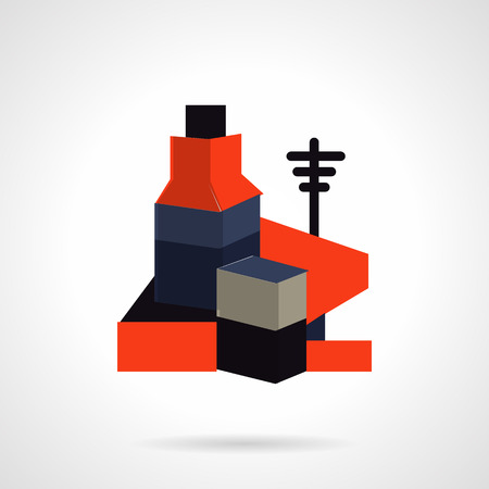 cabling: Red and black color flat vector icon for power electric plant. Design element for business and website