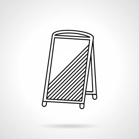 bocadillo: Icono plana vector línea de paneles sandwich en blanco. Elementos Acera anuncio, promoción, menú del café. Elemento de diseño para los negocios y el sitio web
