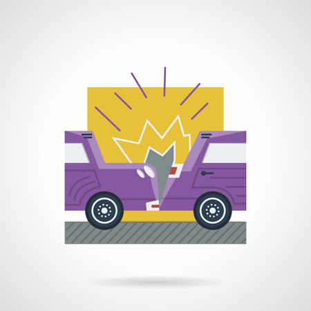 auto insurance: Flat color style vector icon for crash of two purple cars. Occasions for auto insurance. Design element for business and website