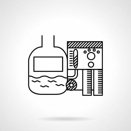 sewage treatment plant: Black simple line vector icon for water or sewage treatment system. Design element for business and website